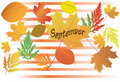 Autumn leaves - September - vector Stock Photos
