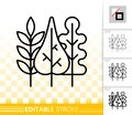 Autumn leaves simple black line vector icon