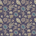 Autumn leaves vector seamless pattern. Botanic background in colors of blue and beige