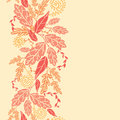 Autumn leaves vertical seamless pattern background vector fall ornament with various hand drawn foliage in warm colors Royalty Free Stock Images