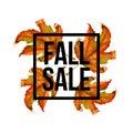 Autumn leaves. Watercolor texture. Fall leaf. Sale lettering design. Vector illustration EPS10
