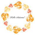 Autumn leaves wreath on white background, Round colorful frame, hand drawn imprint vector herbal vintage