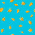 Autumn leaves. Yellow orange leaf set. Oak, maple, birch, rowan. Seamless Pattern Wrapping paper, textile template. Blue backgroun Royalty Free Stock Photo