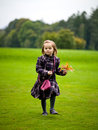 Autumn a little girl holding brown leaves Royalty Free Stock Photo