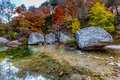 Autumn at lost maples state park texas beautiful crystal clear pool and colorful fall foliage Stock Images