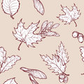 Autumn maple leaves and seads seamless pattern