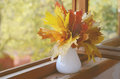 Autumn mapple leaves bunch maple in vase on old wooden windowsill Stock Images
