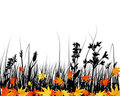 Autumn meadow silhouettes Stock Photography