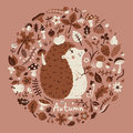 Autumn medallion with a cute hedgehog among the leaves cones berries flowers and mushrooms vector card Stock Images