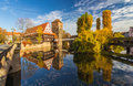 Autumn mirror scene- Nuremberg-Germany-river Pegnitz Royalty Free Stock Photo