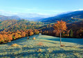 Autumn misty morning mountain valley Stock Image