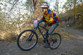 Autumn montain bike contest Royalty Free Stock Images
