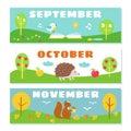 Autumn Months Calendar Flashcards Set.