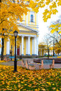 Autumn morning in the old park kronstadt russia Stock Images