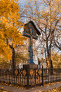 Autumn in moscow novospassky monastery crucifixion the territory Stock Photo