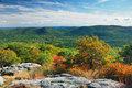 Autumn Mountain forest panorama Royalty Free Stock Photos
