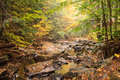 Autumn mountain stream in pennsylvania landscape background of a rocky with colored foliage and fallen leaves Stock Photo