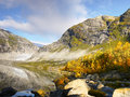 Autumn Mountains, Lake, Nigard Glacier, Norway Royalty Free Stock Photo