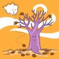 Autumn naked tree 免版税库存照片