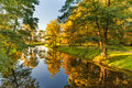 Autumn Nature With Trees and River Water with Reflection Royalty Free Stock Photo
