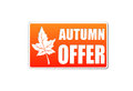 Autumn offer in label with leaf banner text orange white fall business concept Stock Photo