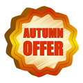 Autumn offer star-like label Stock Photos
