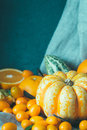 Autumn Orange Vegetables and Fruits, Beautiful Nature Background, Toned Picture, Free Space for Text