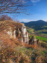Autumn outlook from tupa skala slovakia late massive rocky formation called part of vysnokubinske skalky location is Royalty Free Stock Images