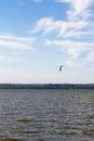 Autumn panorama of lake Pleshcheyevo and skysurfing. Autumn. Pereslavl-Zalessky. Russia. Royalty Free Stock Photo