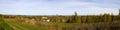 Autumn panorama of Pereslavl-Zalesskiy and of lake Pleshcheyevo. Russia. Royalty Free Stock Photo