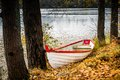 Autumn park boat Royalty Free Stock Photo