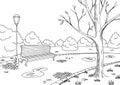 Autumn park graphic black white landscape sketch illustration