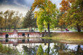 Autumn in park historical st petersburg region Royalty Free Stock Images