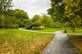 Autumn park and Overcast Sky Royalty Free Stock Photo