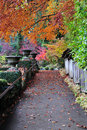 Autumn path in butchart gardens Royalty Free Stock Photos