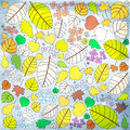 Autumn patter pattern with many colored leaves Stock Image