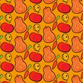 Autumn pattern with pumpkins, apples and carrots. Hand drawn vector illustration