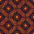 Autumn pattern. Retro circles texture. Vector seamless on black background.