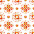 Autumn pattern. Retro floral circles texture. Vector seamless on white background.