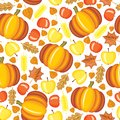 Autumn pattern seamless with red and yellow apples pumpkins and leaves Stock Photo