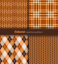 Autumn patterns seamless orange and brown fabric Stock Photography