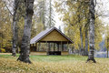 Autumn and pavilion in park a the middle of a under aspen trees Stock Photo