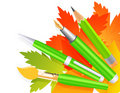 Autumn pen and pencils Royalty Free Stock Images
