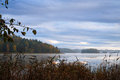 Autumn photo taken on misty lake Royalty Free Stock Image
