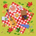 Autumn picnic in park or forest. Fall landscape, leaves and food on red plaid, top view illustration. Vector background.