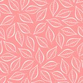 Autumn pink natural background from contours of white leaves. Seamless decorative eco backdrop. Environmental pattern with floral