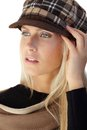 Autumn portrait of blonde beauty in hat trendy posing Royalty Free Stock Images