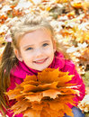 Autumn portrait of cute smiling little girl with maple leaves outdoor Royalty Free Stock Photo