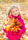 Autumn portrait of cute smiling little girl with maple leaves outdoor Stock Photos