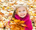 Autumn portrait of cute smiling little girl with maple leaves outdoor Stock Photo